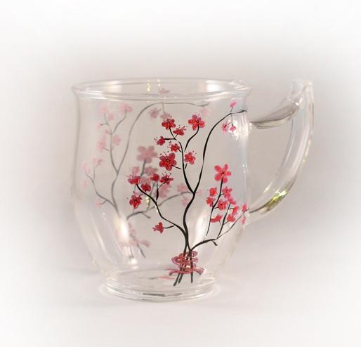 Cherry Blossom Glass Mug Hebden Tea